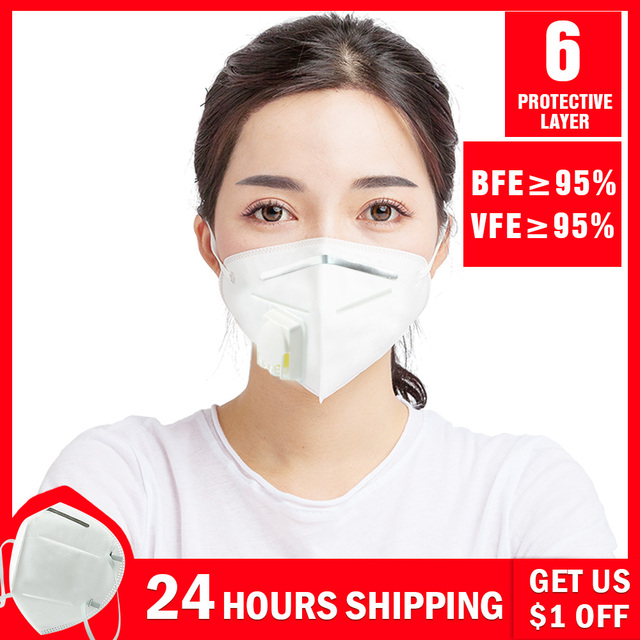 5PCS N95 N99 Reusable Valved Face Mask 6 Layers Filter Bacterial Flu Protection Face Mask Mouth Cover Pm2.5 Anti-Dust Masks 4