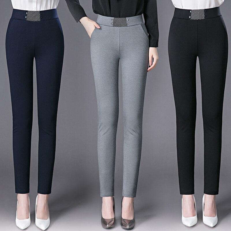 2020 New Style Woman Autumn Winter Pencil Pants Elastic High Waist Plus Size Comfort Soft Slim Office Lady Trousers Good Quality|Pants & Capris| - AliExpress