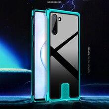 Pour Samsung Galaxy Note 10 Plus + étui de luxe en aluminium en métal pare chocs cadre armure couverture de coque de téléphone en verre trempé de protection