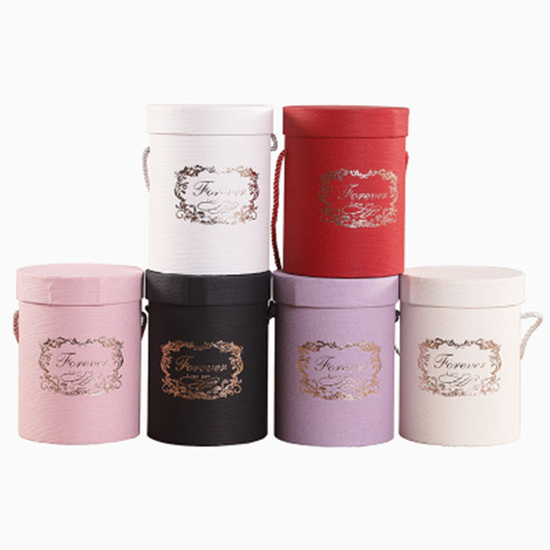 New Round Flower Paper Boxes Lid Hug Florist Flower Bucket Gift Packaging Box Gift Candy Bar Party Wedding Gift Storage Boxes