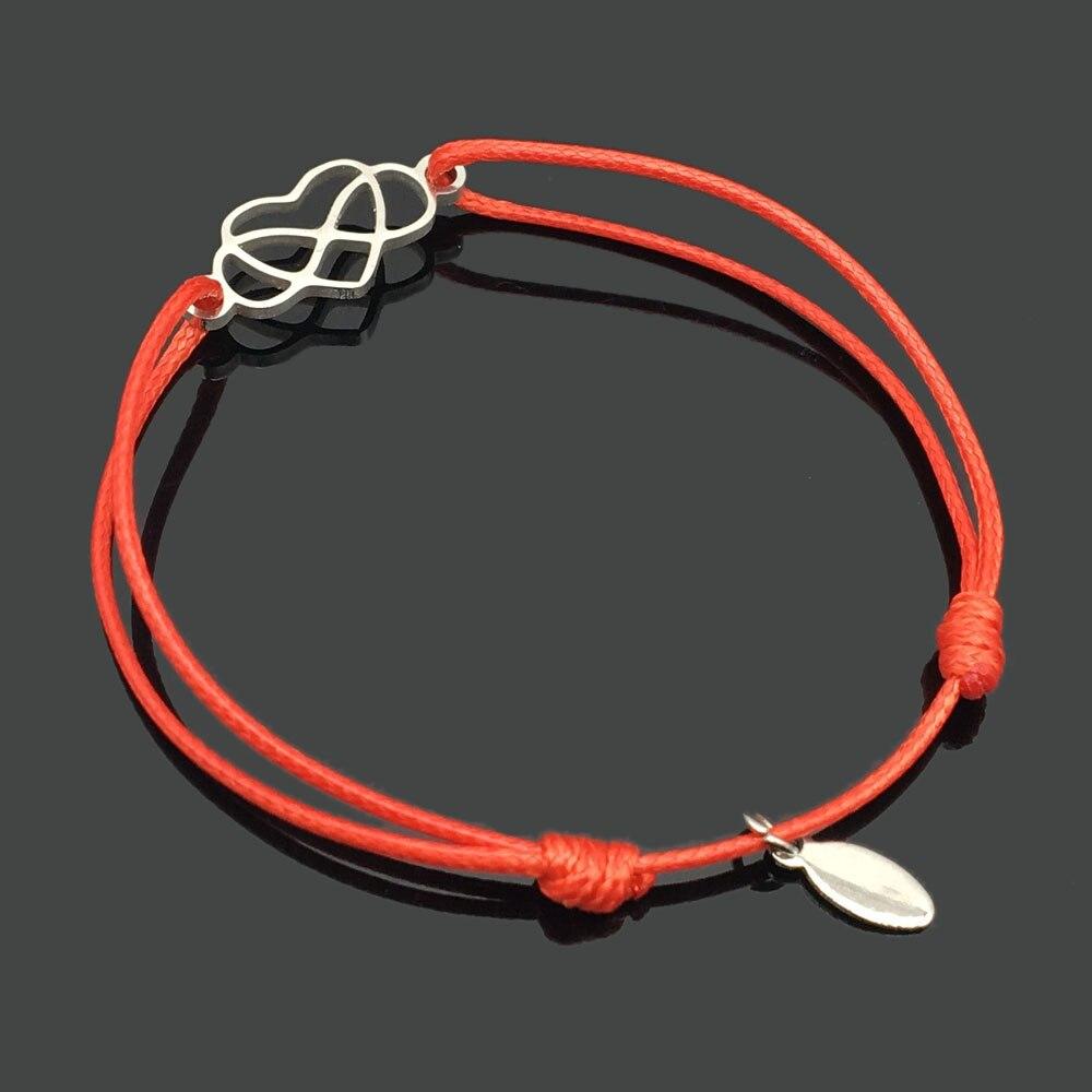2 шт браслет желаний из нержавеющей стали, регулируемый шнур, хороший браслет, приносящий удачу, красный браслет дружбы - Окраска металла: steel infinity love