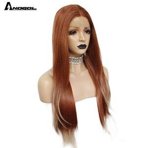 Image 2 - ANOGOL Auburn Arancione Sintetico Parrucca Anteriore Del Merletto Lungo Rettilineo Parte Centrale di Rame Rosso Resistente Al Calore Parrucca per Le Donne