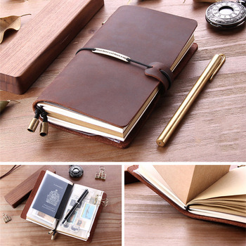 Handmade Cowhide Journal Travel Notebook Genuine Leather Vintage Diary Notepad Sketchbook TN Travel Planner Notebook Stationery free shipping 2017 new arrival portable sim travelers notebook tn traveler notepad befriend travel journal pu cover planner
