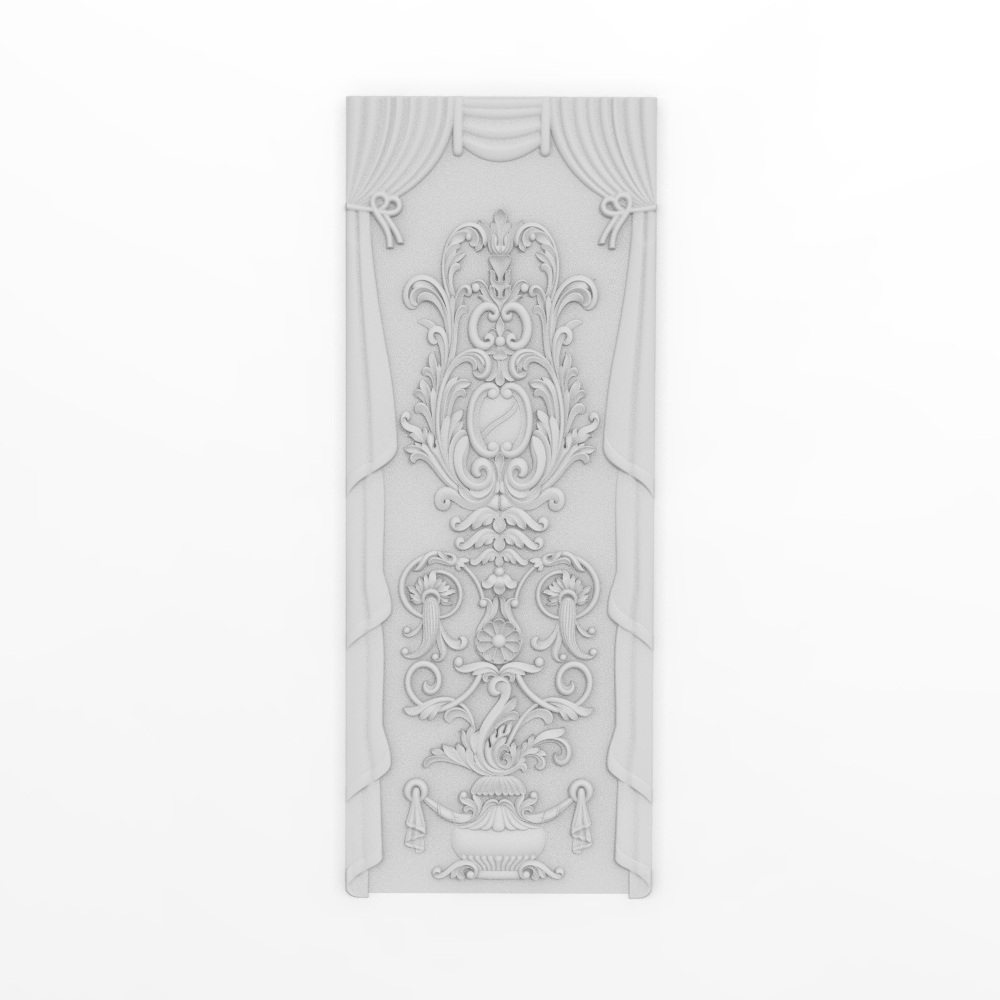 Curved Curtain Panel Relief 3D Model STL Format File CNC Router ArtCAM Aspire Type3 JDpaint Engraving Carving File A2030