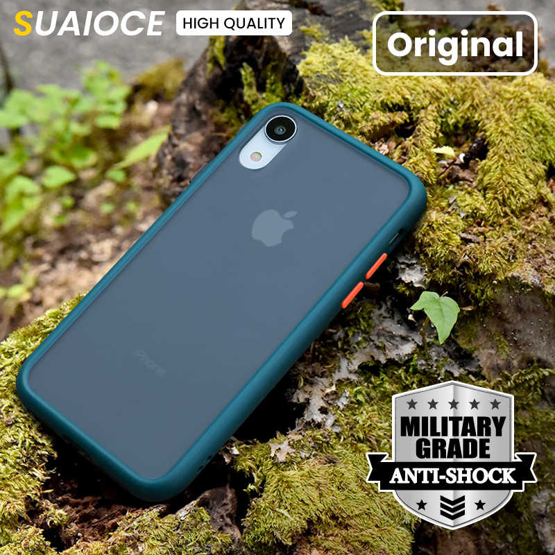 Suaioce Originele Luxe Shockproof Phone Case Voor Iphone 11 Pro X Xs Max Xr Se 2020 7 8 Plus Case matte Transparant Back Cover
