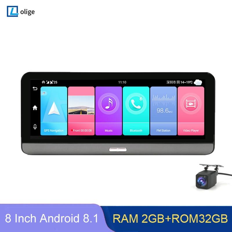 Видеорегистратор автомобильный, 8 дюймов, 4G ADAS, Android 8,1, 2 + 32 ГБ, GPS-навигация, Wi-Fi, 1080P