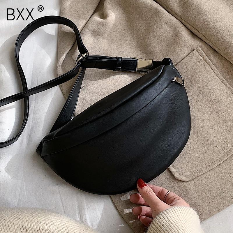 [BXX] Leather Solid Color Chest Waist Crossbody Bags For Women 2020 Simple Fashion Shoulder Messenger Bag Female Handbags HK383