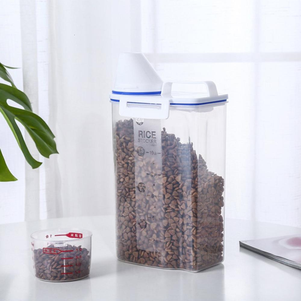 Pet Food Storage Container Airtight Dog Cats Foods Container With Measuring Cup Box Storage Tank Pet Storage Grain Barrel