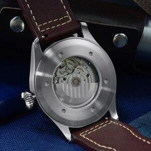 Image 3 - Cronos機械式パイロットfliegerメンズ腕時計ステンレス鋼スケルトンバック防水ブルー手スーパー発光メッシュバンド