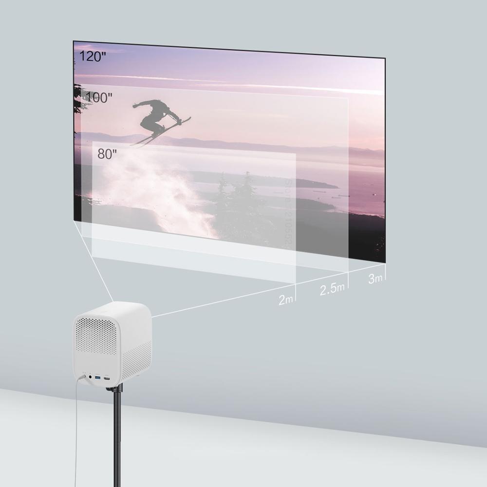 Xiaomi projetor inteligente para casa mini 3d 500 ansi lumens 1080p dlp dolby caixa de tv áudio foco automático correção keystone vertical-2