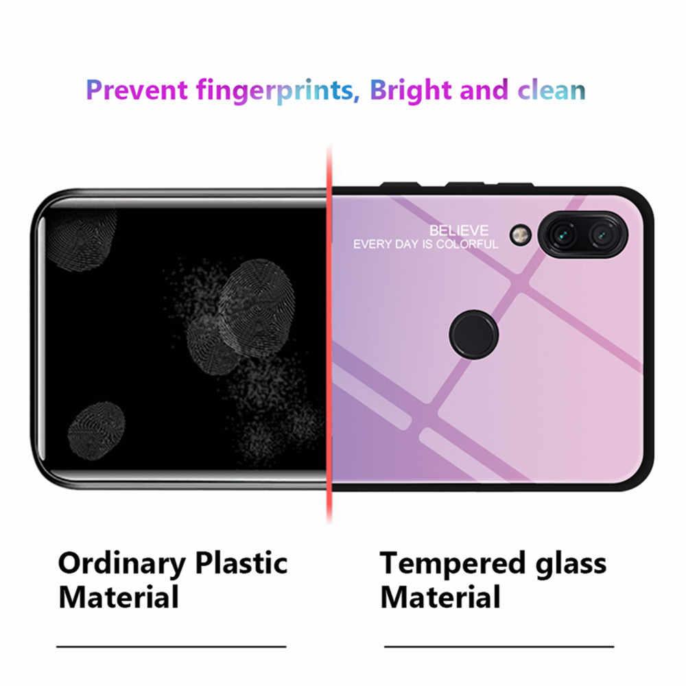 Caso de vidro temperado para xiaomi redmi note 8t 8 7 6 pro 8a 7a 6a k20 pro 5 plus gradiente caso colorido para mi nota vermelha 8t 7 8 pro