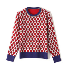 Women New vintage red leaf Jacquard warm sweaters long sleeve o neck lurex Christmas pullovers autumn knitted retro tops