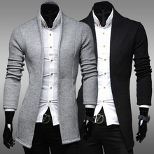 ZOGAA Mens Long Cardigan Sweater 2019 Brand Spring Casual Simple Coat Slim Solid Fashion Outwear Male Clothing
