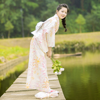 Women's Kimono Robe Traditional Japan Yukata yellow Color flowers Prints Summer Dress Performing Wear Cosplay Clothing