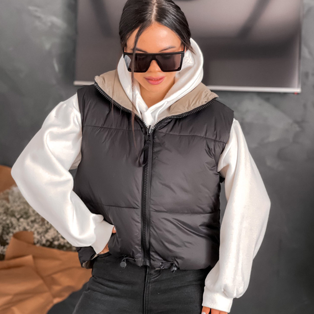 Autumn Winter New Women Vintage Black Jacket Coat Fashion Double Sided Warm Sleeveless Outerwear Female Casual Short Cotton Tops 3