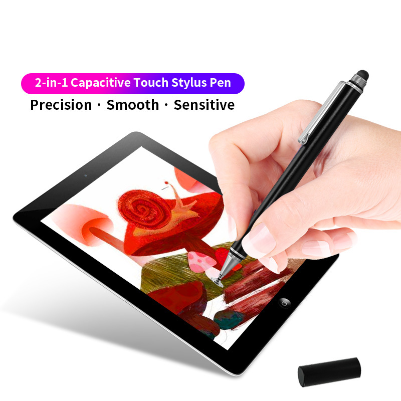 2 In 1 Stylus For Smartphone Tablet Thick Thin Drawing Android Mobile Phone Screen Touch Pen Metal Universal Capacitive Pencil