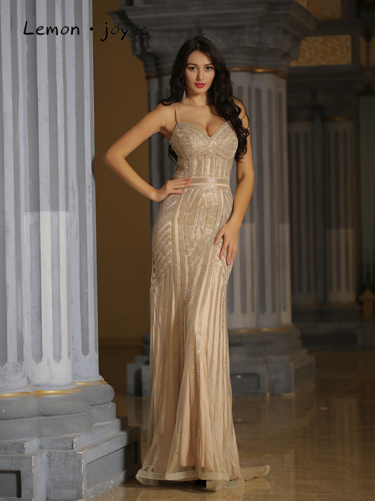 Party-Dress Evening-Dresses Champagne Robe-De-Soiree Lemon Joyce Mermaid Sexy Long Plus-Size