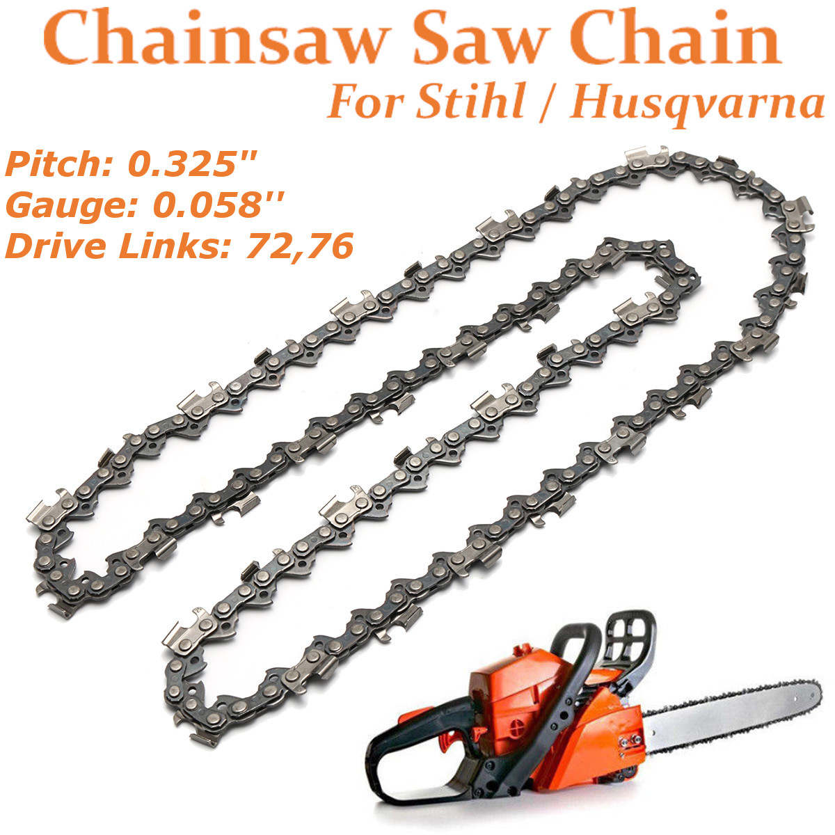 "18/"" Chainsaw Saw Chain Blade Pitch .325 /"" 0.058 Gauge 72 Drive Links Replacement"