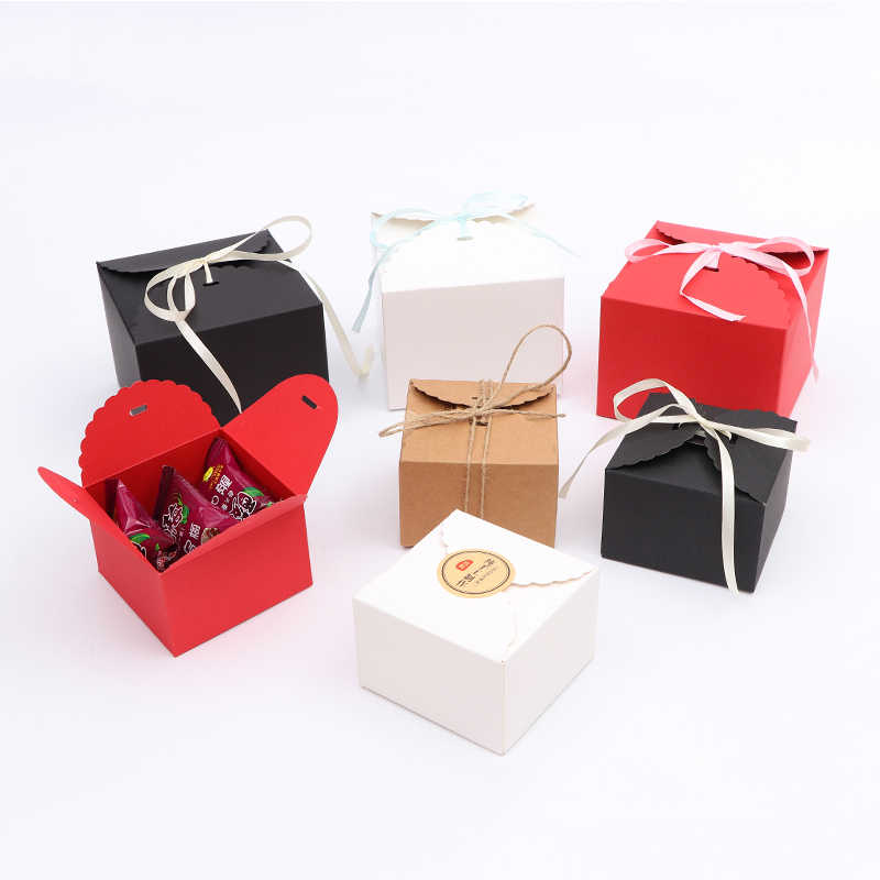white and black wedding decoration 10pcs/lot clear cookie box with ribbon gift foldable packaging paper box wed gift box