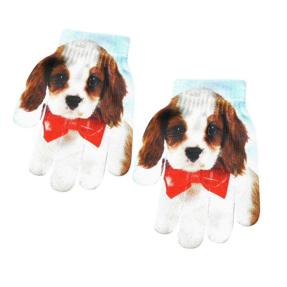 Модные Детские Зимние перчатки для девочек и мальчиков с милым 3D-принтом, теплые женские перчатки для улицы, женские зимние теплые перчатки для мобильного телефона - Цвет: B