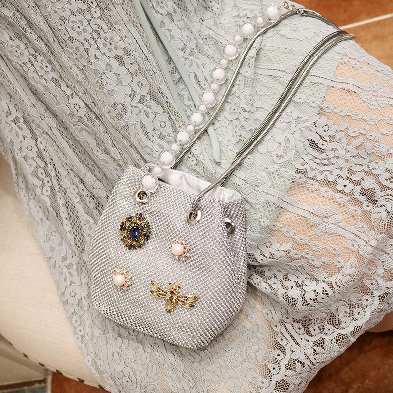 2020 Women's Bag Handmade Custom Diamonds Pearl Bag Shoulder Messenger Portable Chain Bag Mobile Phone Bag Channels Louis Bags