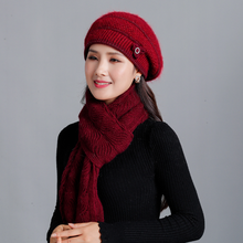 Winter Keep Warm Rabbit Fur Beret Thick Knitted Female Berets Women Windproof Thermal Cap Scarf  Caps