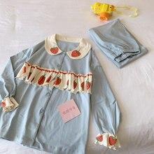 Женская Хлопковая пижама с длинным рукавом в стиле колледжа