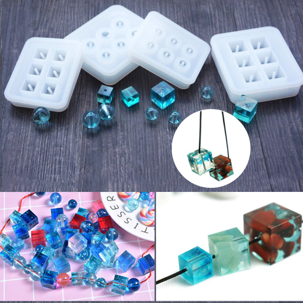 Jewelry Sphere Square Diamond Shape Body Pendant Casting Mold Tools Silicone Resin Craft DIY Jewelry Tool