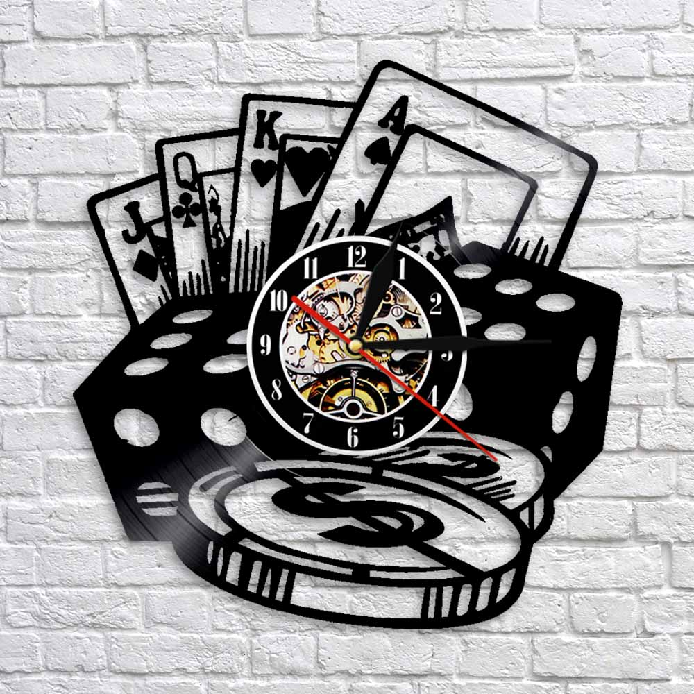 Poker Stars Card Wall Clocks Vinyl Record Wall Clock With LED Blacklight Creative 3D Decorative Hanging Black Watch Home Decor