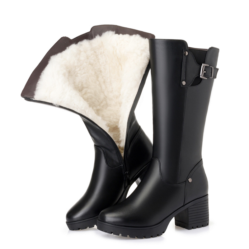 AQ10 2019 new winter 100% Natural wool women boots black female Knight boots warm women's motorcycle boots plus size Snow boots
