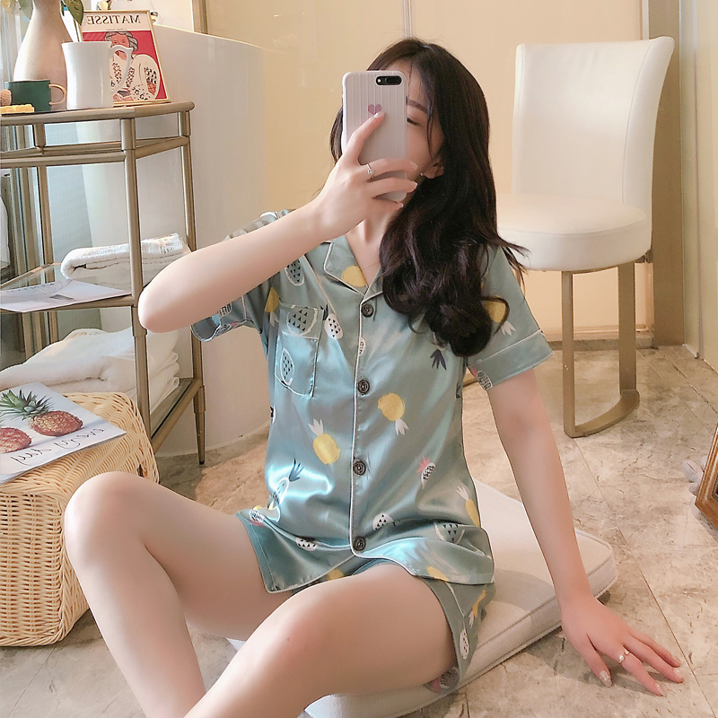 FallSweet Summer Pajamas Set For Women Short Printed Sleepwear Cute Silk Pyjamas Two Piece Set