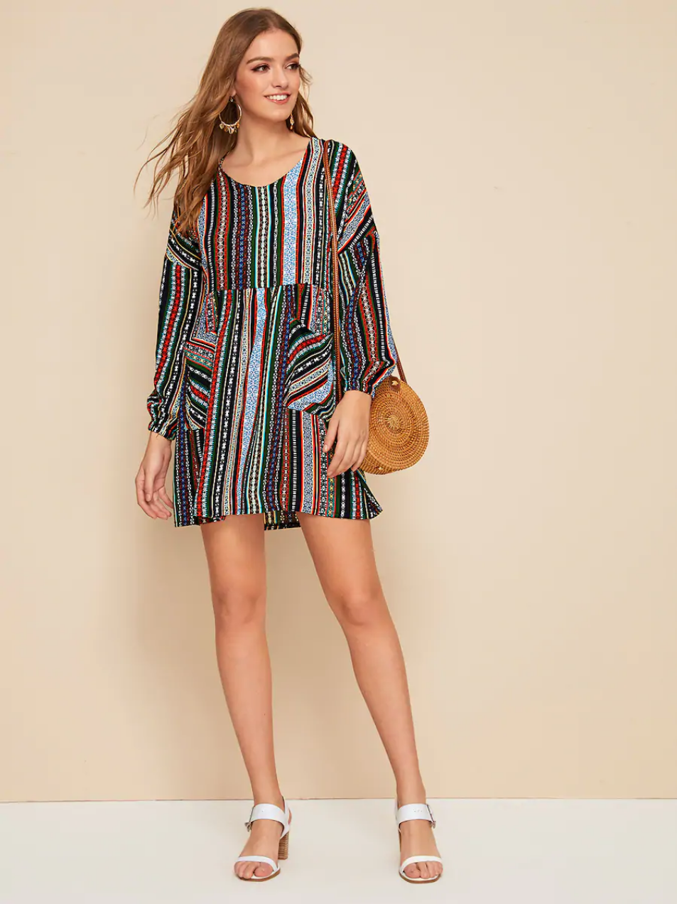 Linglewei New Spring and Summer Women's Dress Bohemian Ethnic style Double pocket dress