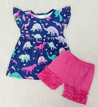 Toddler Baby Girl Clothes Summer Dinpsaur Fulter Sleeve & Soild Short Pants 2PCS Little Girls Outfit Kids Clothing Sets