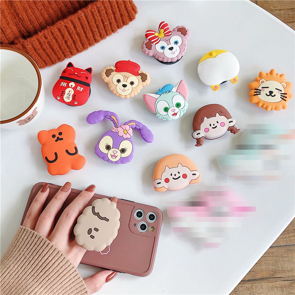 Universal Foldable Bracket Holder For IPhone Samsung Huawei Xiaomi OPPO VIVO Cute Cartoon Bear Dog Cat Lion Folding Ring Holder
