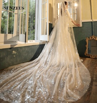 Luxury Sequins Champagne Wedding Veils 2019 New Design 4 Meters Long Cathedral Bridal Veil With Comb Bride Head Veil LVV11