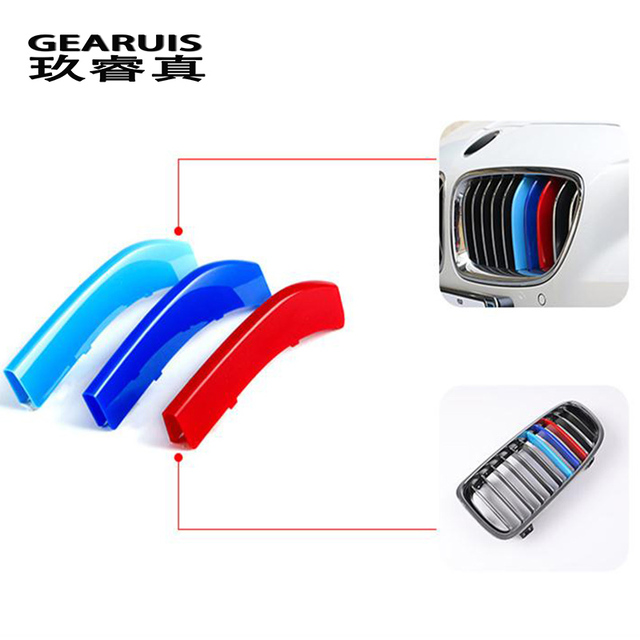 Car Styling For BMW X3 x4 f25 f26 g01 g02 Accessories Head Front Grille For M Sport Stripes Grill Covers Cap Frame Auto Stickers 2