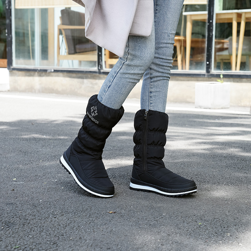 Tube de loisirs de mode chaud, imperméable à l'eau, résistant à l'usure en duvet bottes de neige femmes fermeture éclair latérale bottes pour femmes confortables - 4