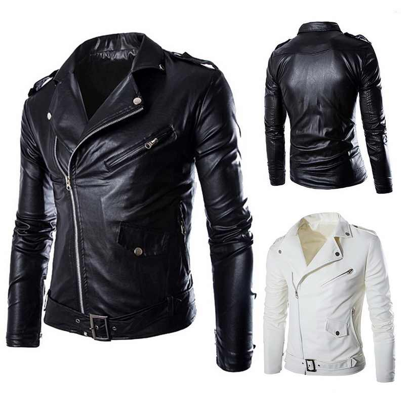 SHUJIN Spring Casual Zipper  Leather Jacket Motorcycle Leather Jacket Slim  Mens Jackets And Coats Black White