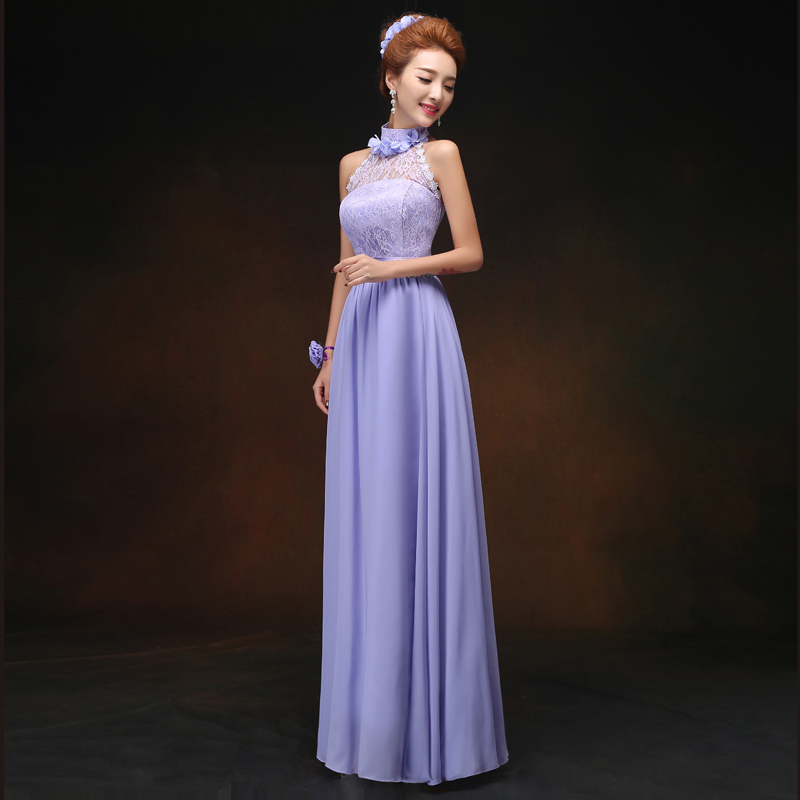 Long Chiffon Bridesmaid Dresses Violet Vestido Largo Sirena Elegant Dress Women Wedding Party Sister Sexy Dress Prom Azul Royal