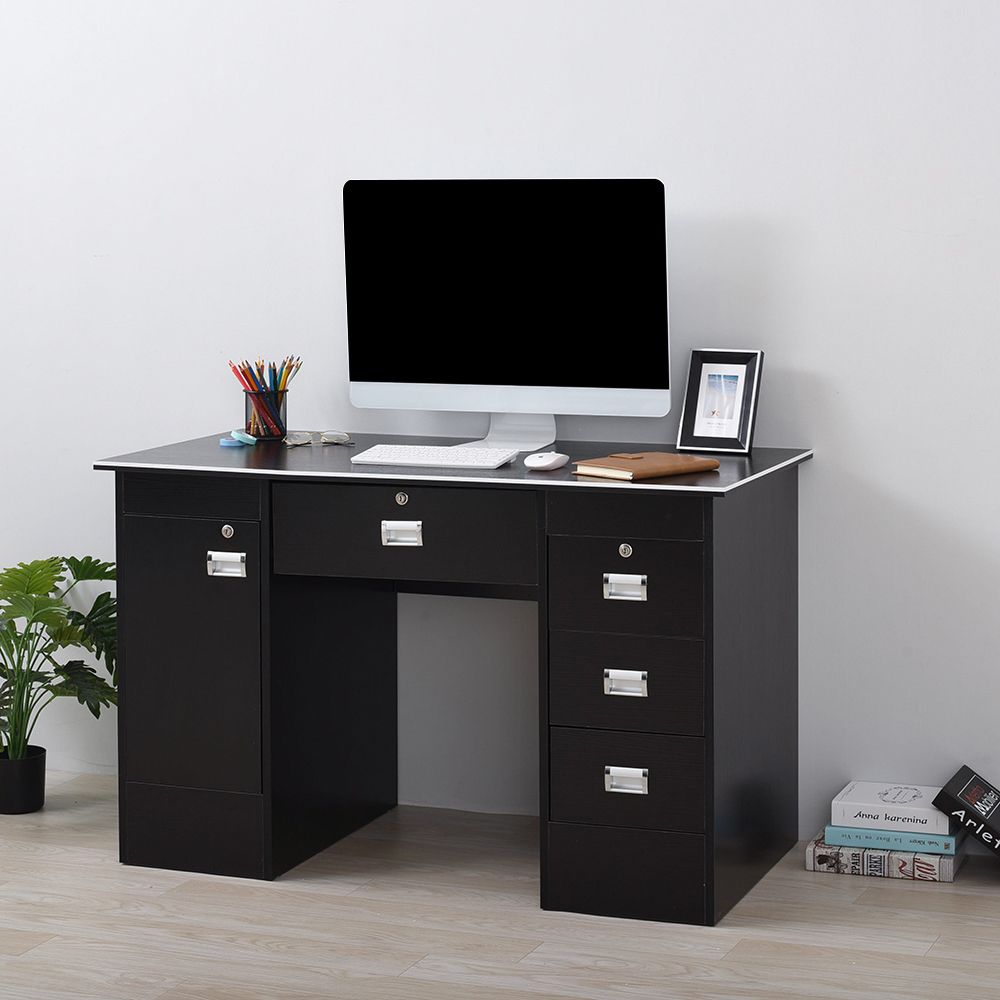 Panana Lockable Computer Desk With Cabinet W/3 Drawers PC Writing Table For Home Office /Study