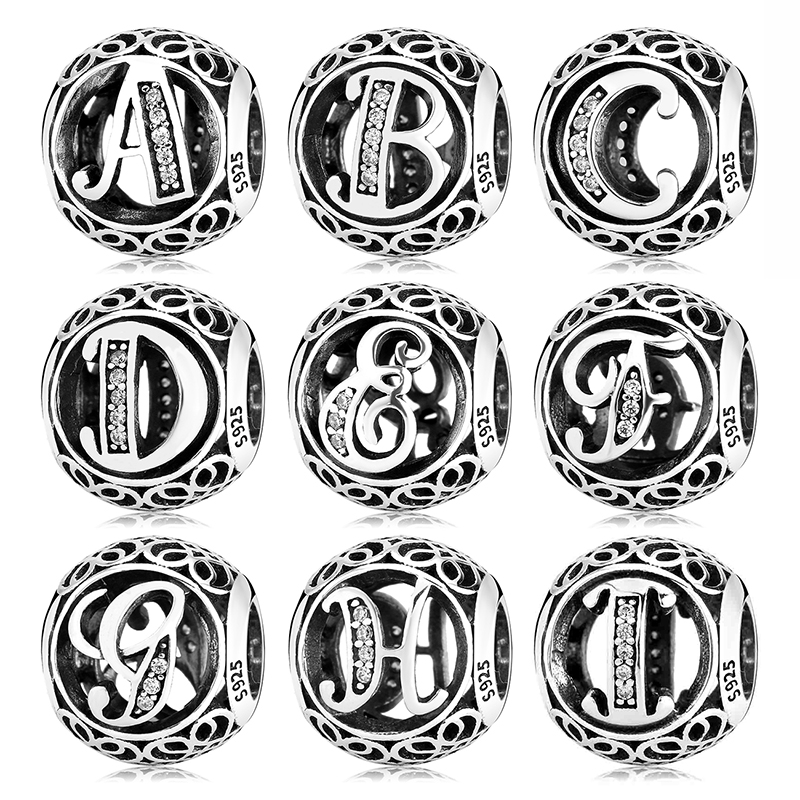 925 Sterling Silver Hollow Beads Letter A To Z Trendy Womens Accessories Fit Original Pandora Charms Bracelets Jewelry Making