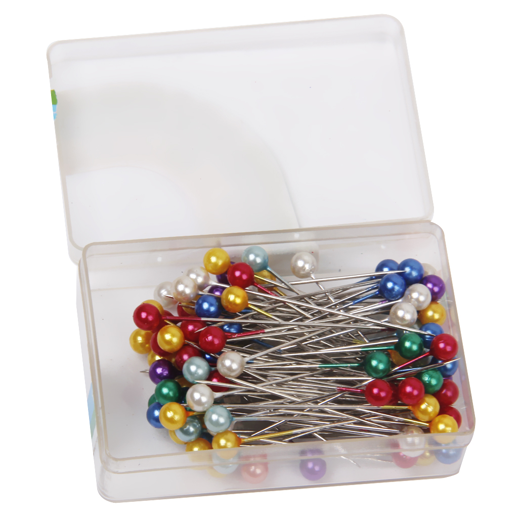 Head Pins,200pc Pearl Head Pins,Round Jewelry Pins for Wedding,DIY Dressmaking,Craft,Sewing,Decorations,Floral Corsage Bouquet Pins with Plastic Box