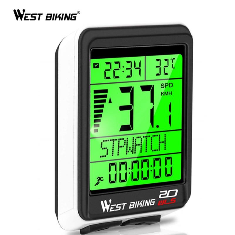 WEST BIKING LED Waterproof Bicycle Computer Wireless 5 Language Cycling Bike Odometer Stopwatch Speedometer 2.1in Bike Computer