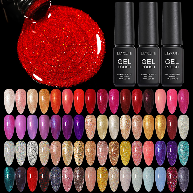 LILYCUTE 7ml UV Gel Nail Polish Glitter Sequins Soak Off UV Gel Varnish Semi Permanent Color Nail Gel DIY Nail Art Varnish