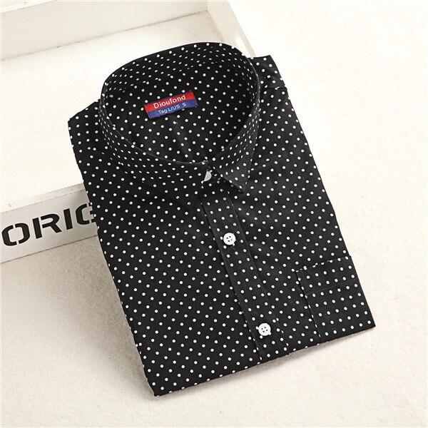 Dioufond, Хлопковая женская рубашка, блуза с длинным рукавом, красный горошек, Blusas Femininas, 5XL размера плюс, отложной воротник, женские модные топы - Цвет: Blackdot