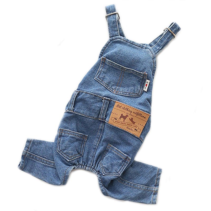 2020 Denim Jumpsuit for Dogs Blue Jeans Dog Overalls All Match Suit for Chihuahua Pitbull Romper Summer Dog Costume ropa perro