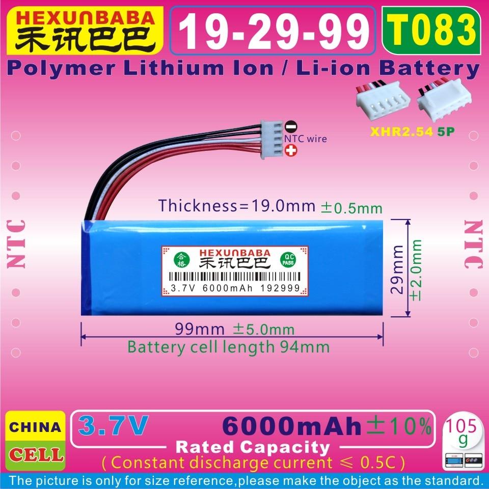 [T083] 3.7 v 6000 mah [192999] xhr2.54/5 p ntc; 5 fio; bateria de íon de lítio de polímero/li-ion
