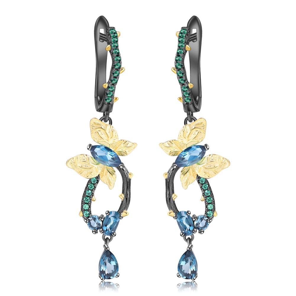 GEM'S BALLET 925 Sterling Silver Handmade Butterfly Branch Drop Earrings Classic Natural London Blue Topaz Earrings for Women-in Earrings from Jewelry & Accessories    1