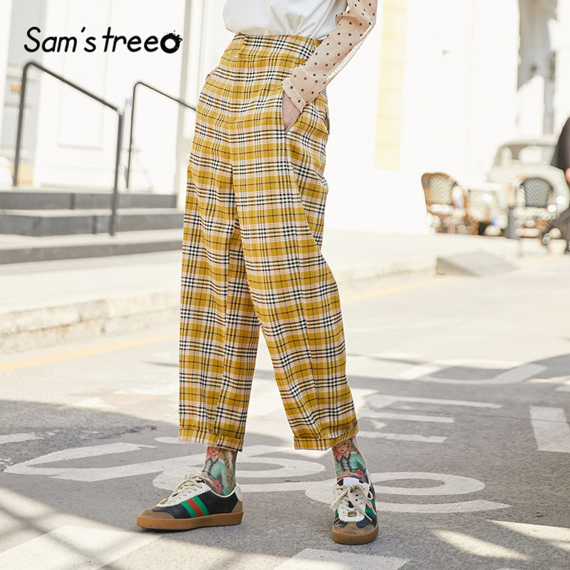 SAM'S TREE Yellow Plaid High Waist Straight Preppy Women Pants 2020 Winter Brit Graphic Loose Casual Office Ladies Daily Trouser