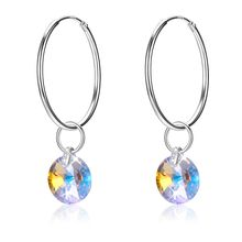 S925 sterling silver circle crystal earrings earrings Colorful crystal pendant fashion jewellery wedding(China)